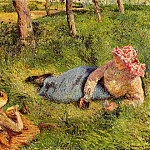 Camille Pissarro - The Snack, Child and Young peasant at Rest. (1882)
