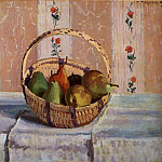Camille Pissarro - Still Life, Apples and Pears in a Round Basket. (1872)