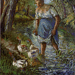 Camille Pissarro - Peasant Crossing a Stream. (1894)
