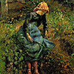 Camille Pissarro - The Shepherdess (Young Peasant Girl with a Stick). (1881)