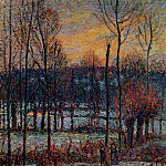 Camille Pissarro - The Effect of Snow, Sunset, Eragny. (1895)