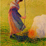Camille Pissarro - Woman Burning Wood. (1890)