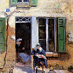 Camille Pissarro - Woman and Child Doing Needlework. (1877)