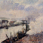 Camille Pissarro - Steamboats in the Port of Rouen. (1896)