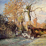 Camille Pissarro - The Goose Girl at Montfoucault, White Frost. (1875)