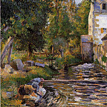 Camille Pissarro - Laundry and Mill at Osny. (1884)