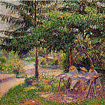 Camille Pissarro - Children in a Garden at Eragny. (1897)