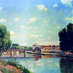 Camille Pissarro - The Railroad Bridge at Pontoise. (1873)