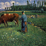 Camille Pissarro - Girl Tending a Cow in a Pasture. (1874)