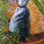 Camille Pissarro - Peasant Donning Her Marmotte. (1882)