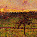 Camille Pissarro - Sunset at Eragny. (1894)