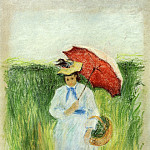 Camille Pissarro - Young Woman with an Umbrella. (1877-80)