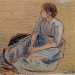 Camille Pissarro - Woman Sitting on the Floor. (1890)