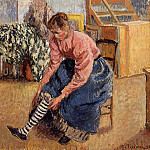 Camille Pissarro - Woman Putting on Her Stockings. (1895)