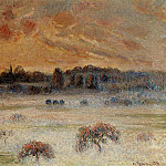 Camille Pissarro - Sunset with Fog, Eragny. (1891)