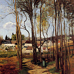 Camille Pissarro - A Village through the Trees. (1868)