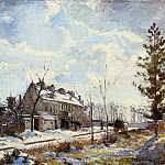 Camille Pissarro - Louveciennes Road - Snow Effect. (1872)