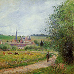 Camille Pissarro - View of Eragny. (1884)