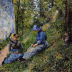 Camille Pissarro - Seated Peasants, Sewing. (1881)