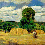 Camille Pissarro - The Harvest at Montfoucault. (1876)