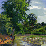 Camille Pissarro - Ducks on the Pond at Montfoucault. (1874)