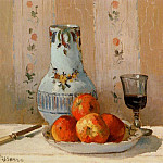 Camille Pissarro - Still Life with Apples and Pitcher. (1872)