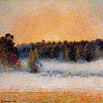 Camille Pissarro - Setting Sun and Fog, Eragny. (1891)