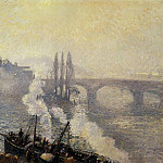 Camille Pissarro - The Pont Corneille , Rouen - Morning Mist. (1896)