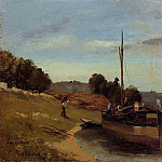 Camille Pissarro - Barges at Le Roche Guyon. (1865)