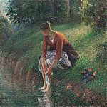 Camille Pissarro - Young Woman Bathing Her Feet. (1895)