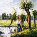 Camille Pissarro - Peasant Woman Watching the Geese. (1890)