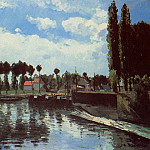 Camille Pissarro - The Lock at Pontoise. (1869)