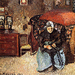 Camille Pissarro - Elderly Woman Mending Old Clothes, Moret. (1902)