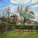 Camille Pissarro - Pear Tress in Bloom, Eragny, Morning. (1886)