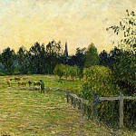Camille Pissarro - Cowherd in a Field at Eragny. (1890)