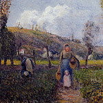Camille Pissarro - Peasant Woman and Child Harvesting the Fields, Pontoise. (1882)