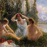 Camille Pissarro - Bathers Seated on the Banks of a River. (1901)