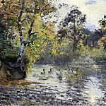 Camille Pissarro - The Pond at Montfoucault. (1874)