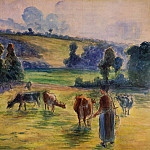 Camille Pissarro - Study for Cowherd at Eragny. (1884)