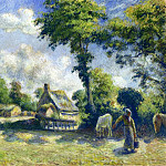 Camille Pissarro - Landscape at Melleray, Woman Carrying Water to Horses. (1881)