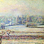Camille Pissarro - View of Bazincourt, Frost, Morning. (1892)