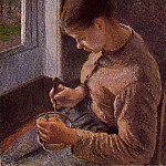 Camille Pissarro - Breakfast, Young Peasant Woman Taking Her Coffee. (1881)