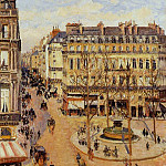 Camille Pissarro - Rue Saint-Honore - Morning Sun Effect, Place du Theatre Francais. (1898)