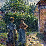 Camille Pissarro - Peasants Chatting in the Farmyard, Eragny. (1895-02)