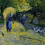 Camille Pissarro - Peasants Carrying Straw, Montfoucault. (1875)