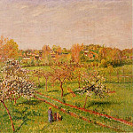 Camille Pissarro - Morning, Flowering Apple Trees, Eragny. (1898)