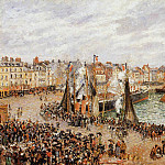 Camille Pissarro - The Fishmarket, Dieppe - Grey Weather, Morning. (1902)