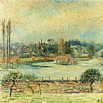 Camille Pissarro - View of Bazincourt, Flood, Morning Effect. (1892)