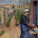 Camille Pissarro - Young Woman Washing Plates. (1882)