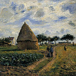 Camille Pissarro - Peasants and Hay Stacks. (1878)